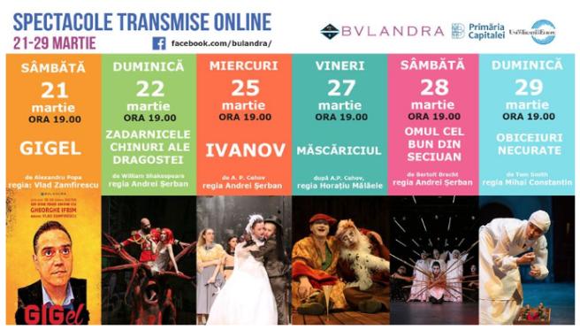 teatru bulandra cu activitate online spectacol inregistrat
