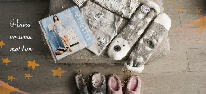 Lady Line pijama din bumbac sosete pufoase si papuci de casa comozi