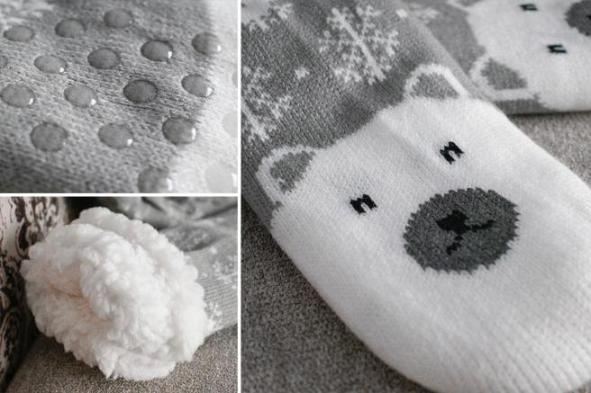 Sosete de iarna la frig extra imblanite Pufoase cu fulgi si urs polar antiderapante