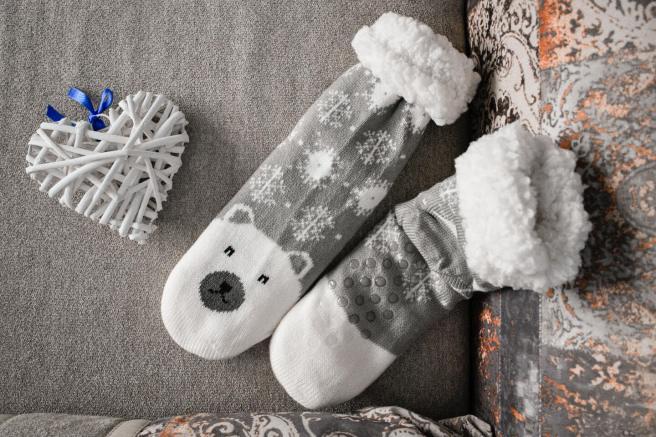 Sosete Pufoase de Iarna Primavara la frig Urs Polar Alb Gri cu Blanita