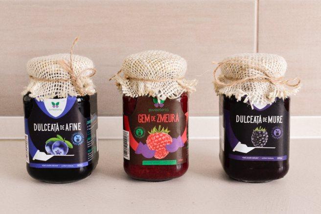 dulceata de afine sau mure si gem de zmeura fara zahar sweeteria