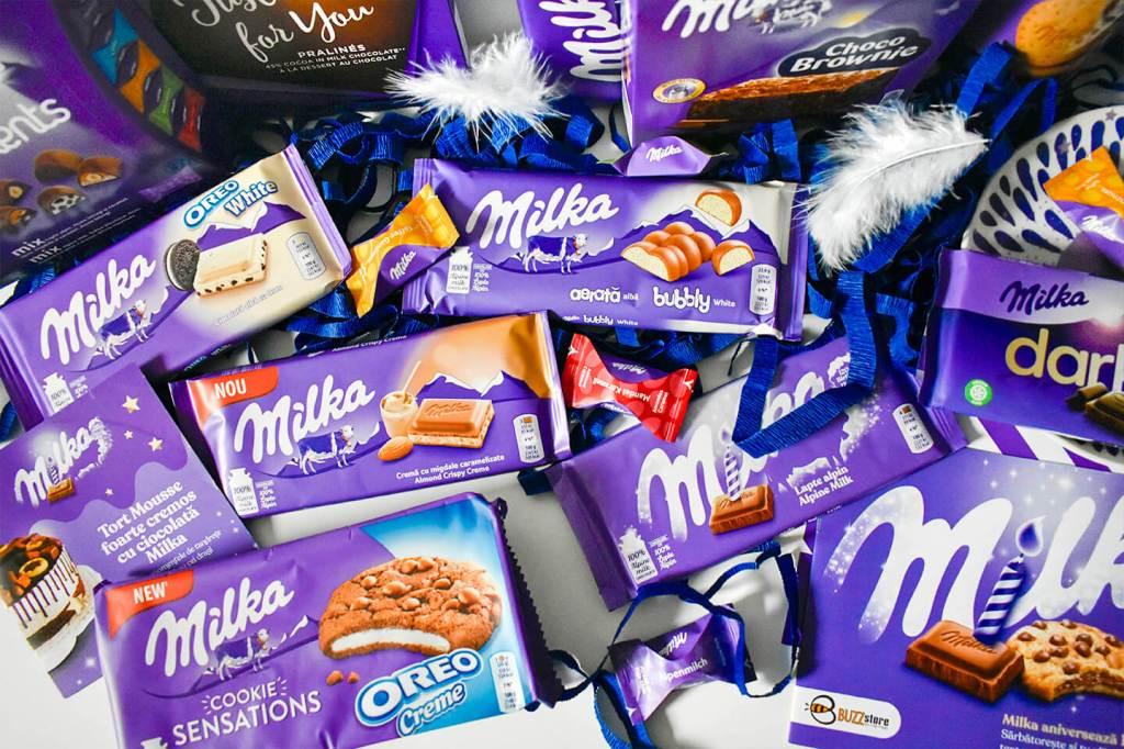 bunatati milka 120 ani ciocolata praline biscuiti bomboane